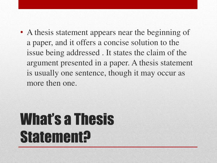 appomattox thesis statement The thesis statement a thesis statement identifies a specific part of your writing topic the statement declares your unique perspective on the topic it gives you the necessary focus and direction to develop your essay as your ideas evolve, you may find it necessary to revise your thesis once or twice.