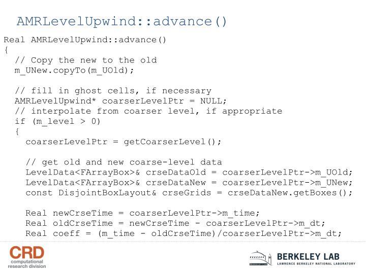 AMRLevelUpwind::advance()