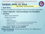 tuesday april 15 2014