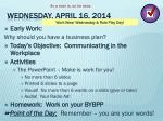 wednesday april 16 2014