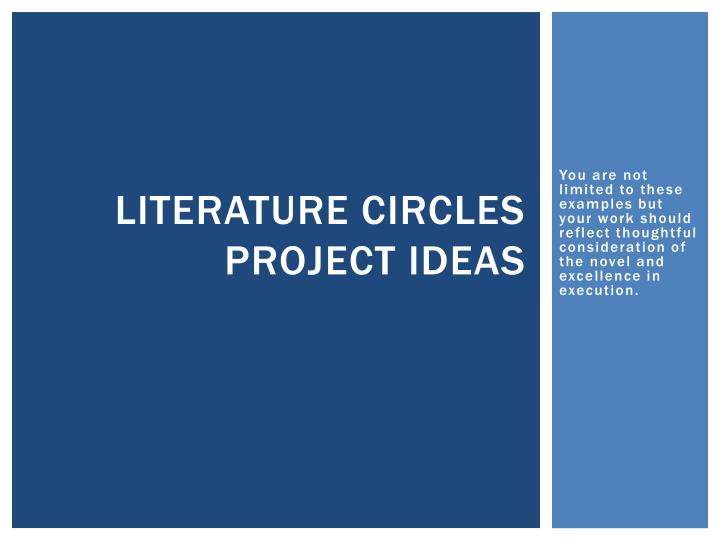 literature circles project ideas n.