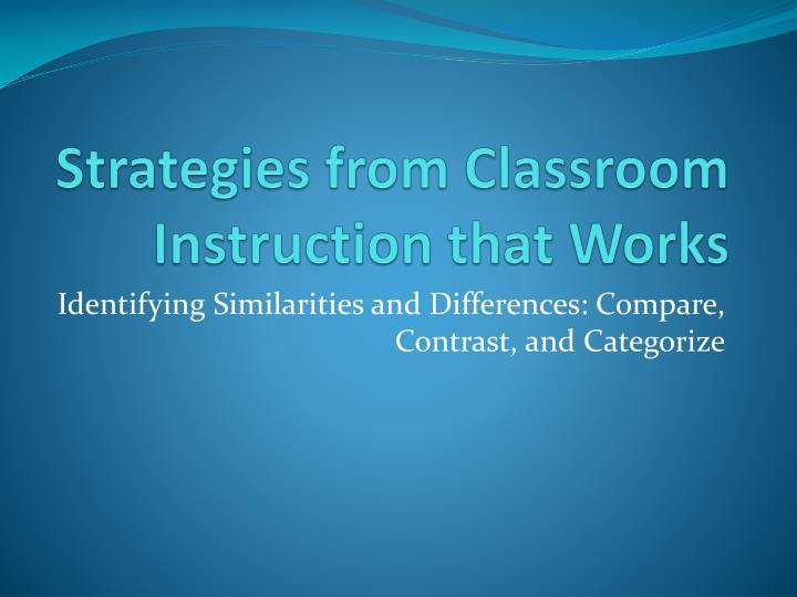 strategies from classroom instruction that works n.