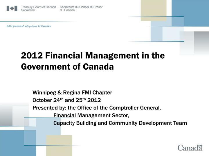 2012 financial management in the government of canada n.