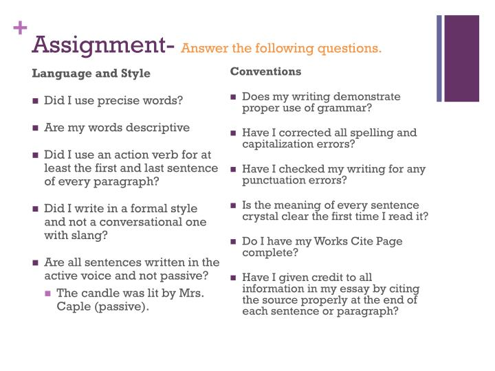 Assignment answer the following questions