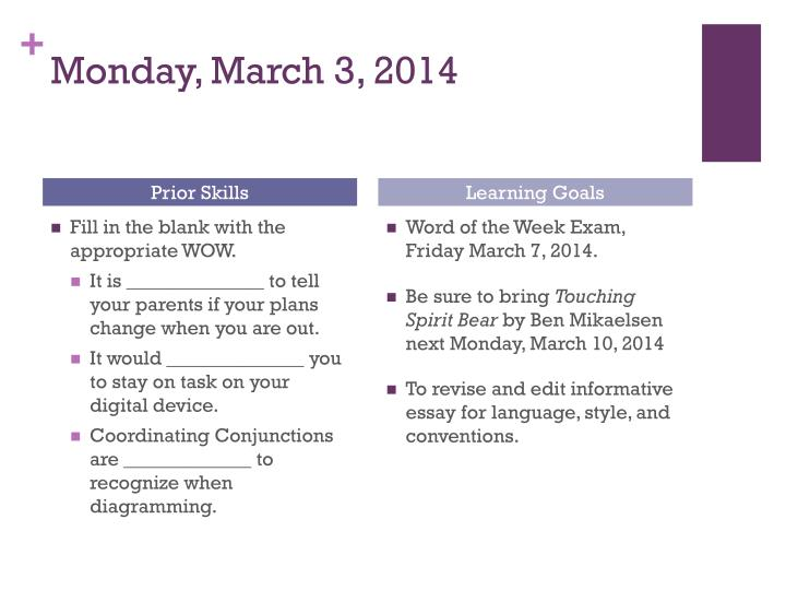 Monday march 3 2014