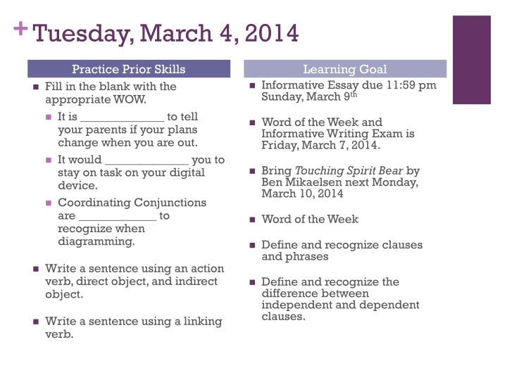 Tuesday, March 4, 2014