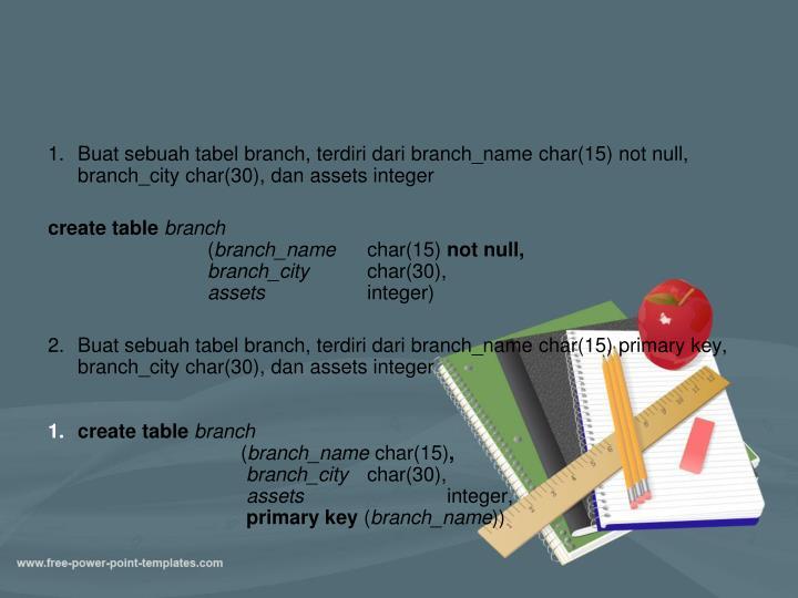 Buat sebuah tabel branch, terdiri dari branch_name char(15) not null, branch_city char(30), dan assets integer