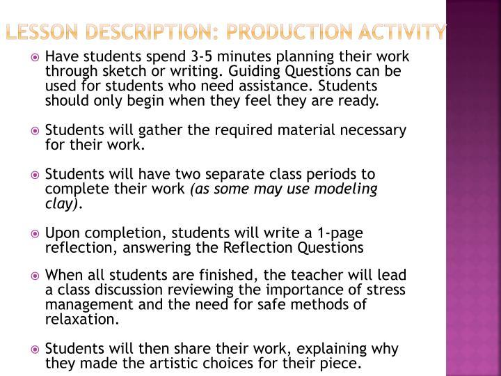 Lesson Description: Production Activity