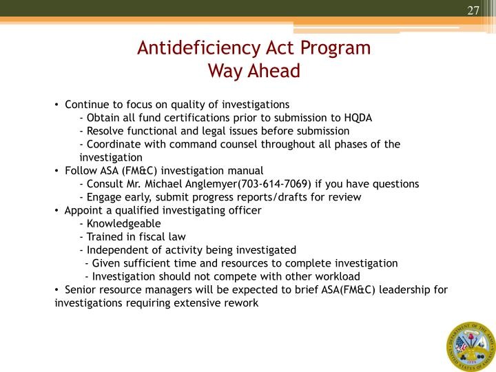 Antideficiency Act Program