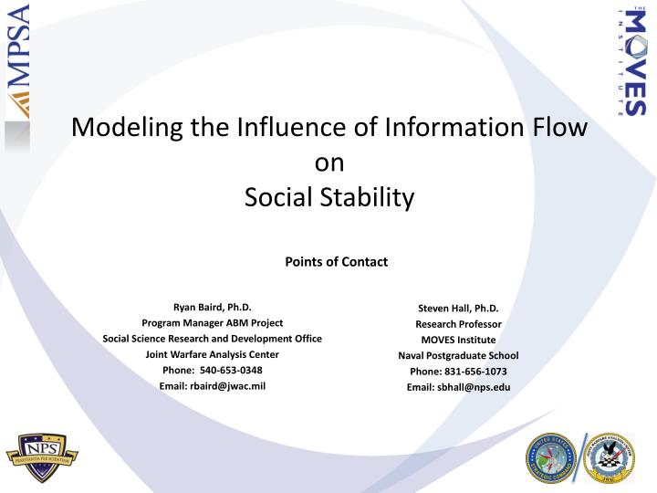 modeling the influence of information flow on social stability n.