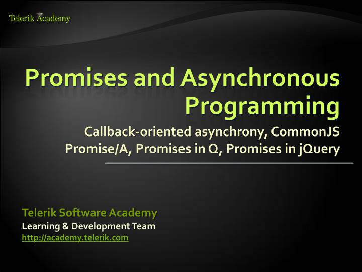 promises and asynchronous programming n.