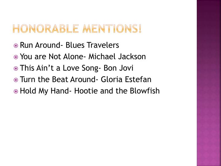 Honorable Mentions!
