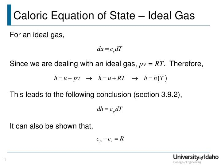 ppt - caloric equation of state – ideal gas powerpoint presentation, University Of Idaho Presentation Template, Presentation templates