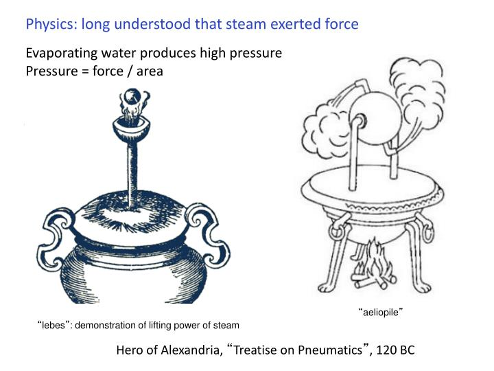 Physics: long understood that steam exerted force