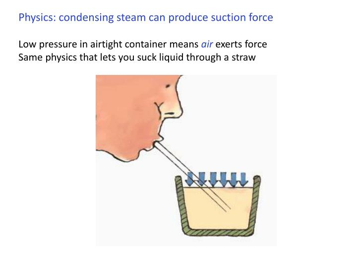 Physics: condensing steam can produce suction force