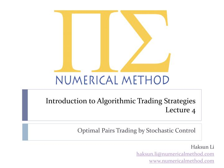 introduction to algorithmic trading strategies lecture 4 n.
