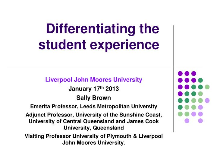 differentiating the student experience n.