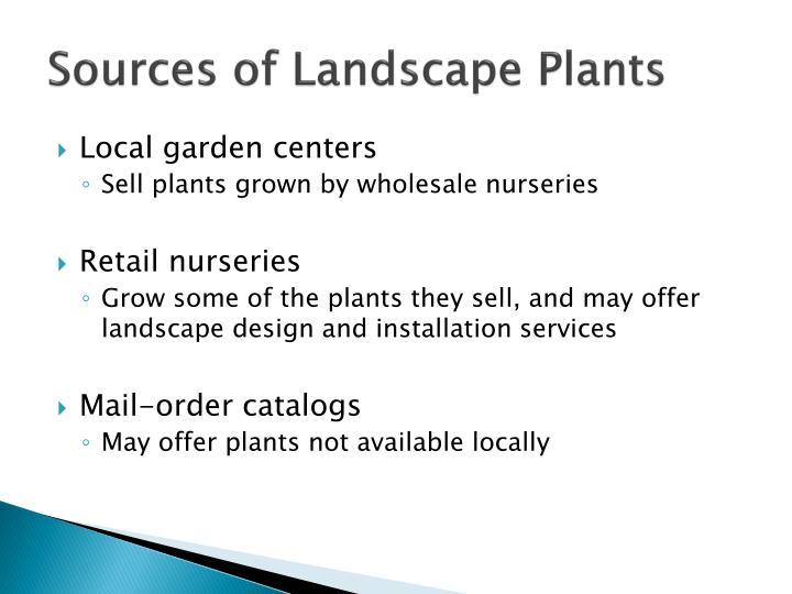 Sources of Landscape Plants