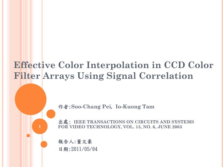 effective color interpolation in ccd color filter arrays using signal correlation n.