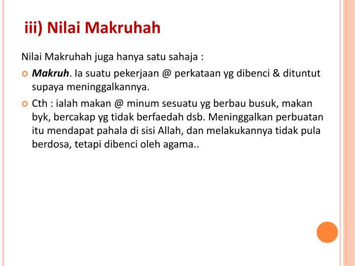 iii) Nilai Makruhah
