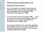 measurement equivalence factorial invariance