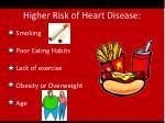 higher risk of heart disease1