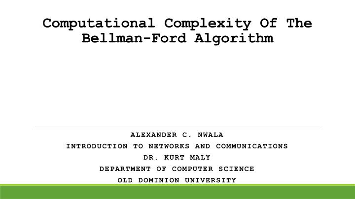 computational complexity of the bellman ford algorithm n.