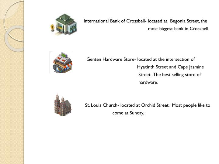 International Bank of Crossbell- located at  Begonia Street, the