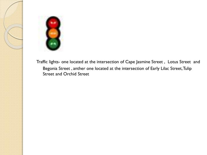 Traffic lights- one located at the intersection of Cape Jasmine Street ,