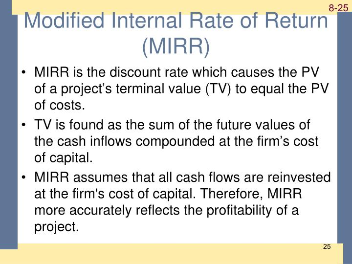 Modified Internal Rate of Return (MIRR)