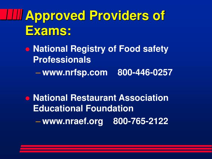 Approved Providers of Exams:
