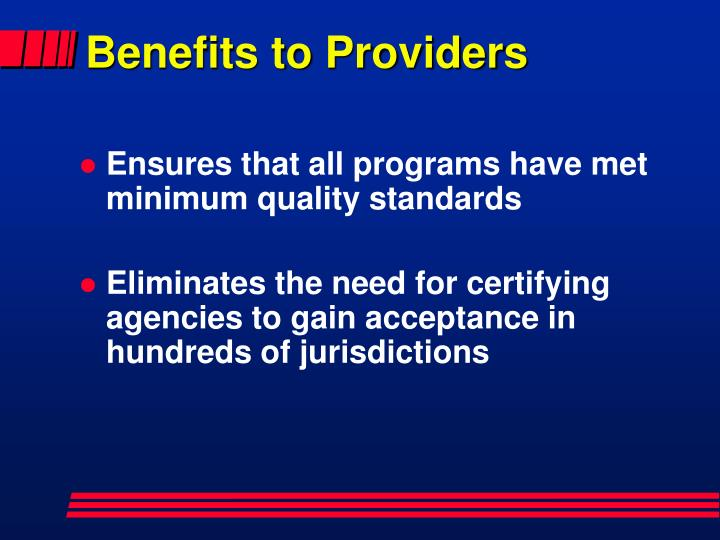 Benefits to Providers