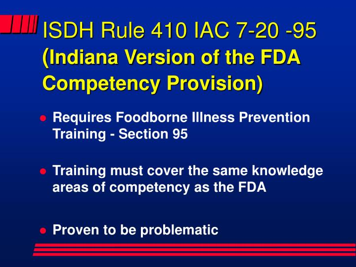 ISDH Rule 410 IAC 7-20 -95