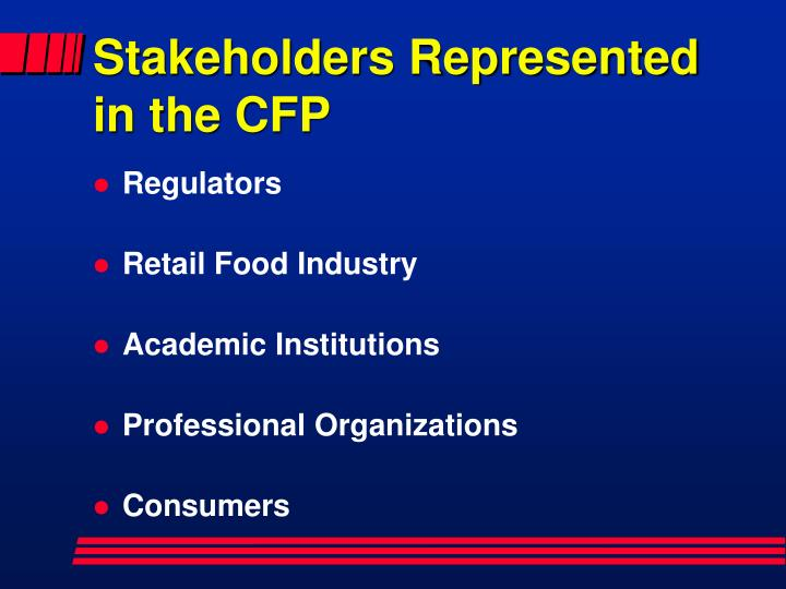 Stakeholders represented in the cfp