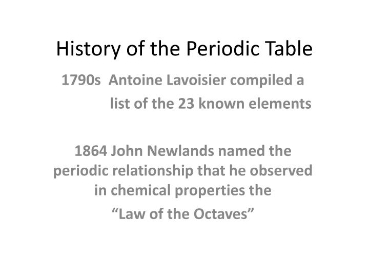 history of the periodic table n.