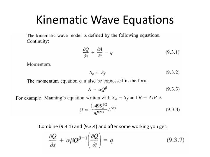Kinematic wave equations