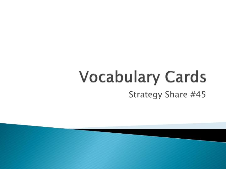 vocabulary cards n.