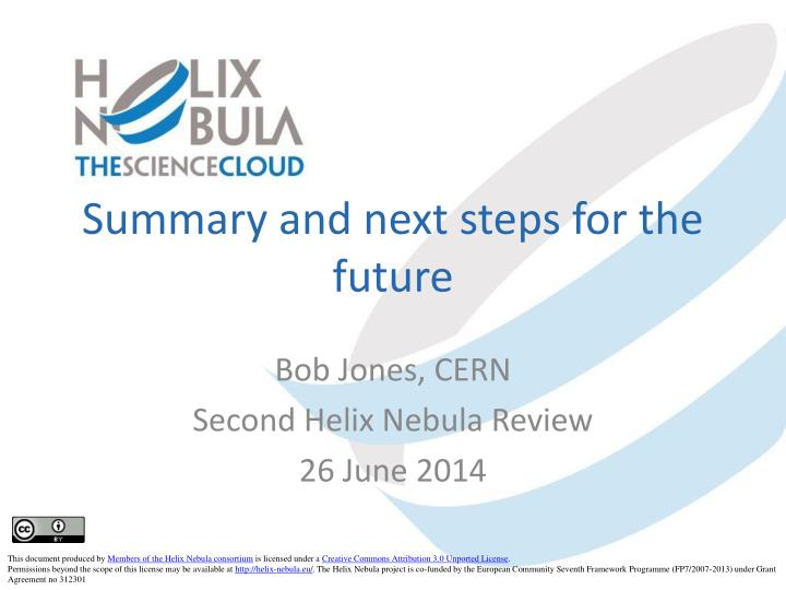 summar y and next steps for the future n.