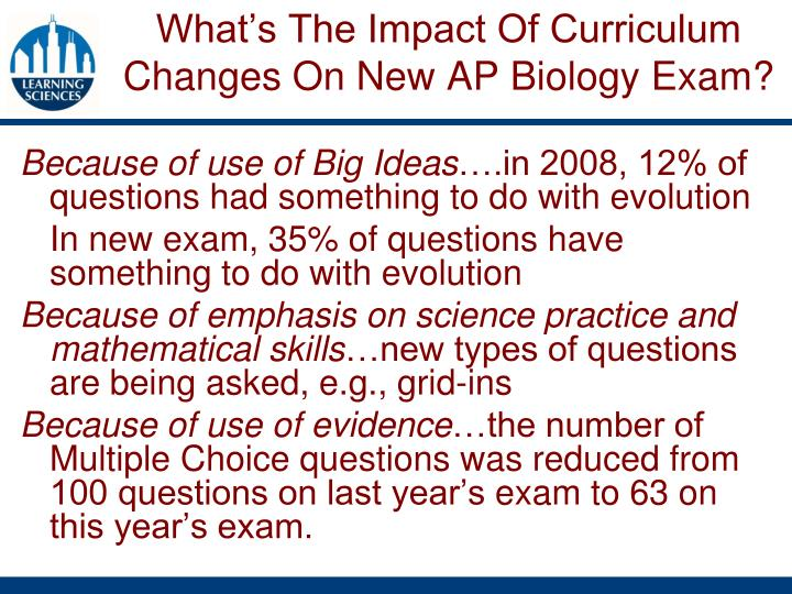 What's The Impact Of Curriculum Changes On New AP Biology Exam?