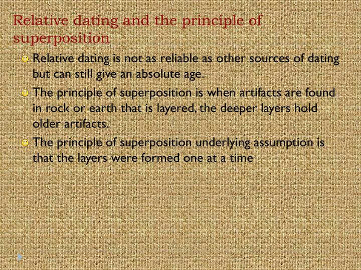Relative dating and the principle of superposition
