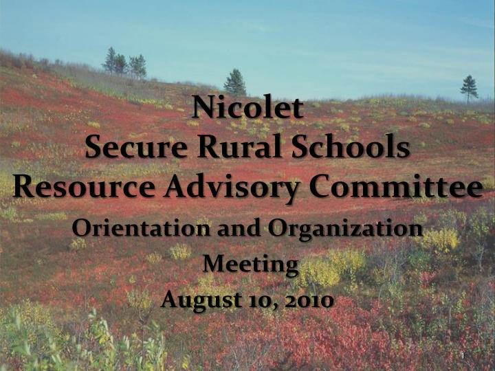nicolet secure rural schools resource advisory committee n.