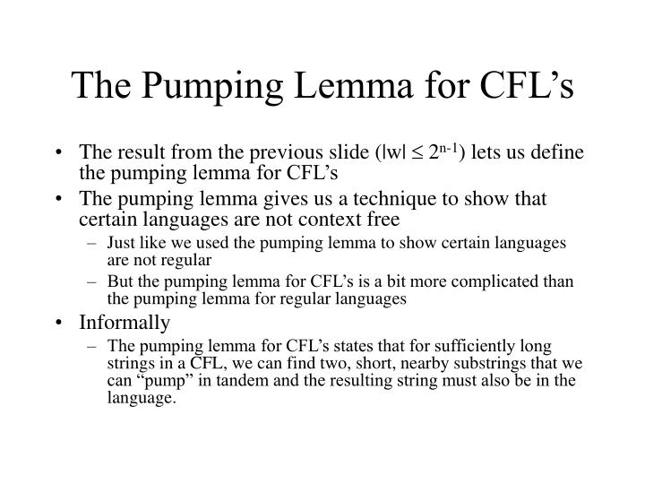 The Pumping Lemma for CFL's