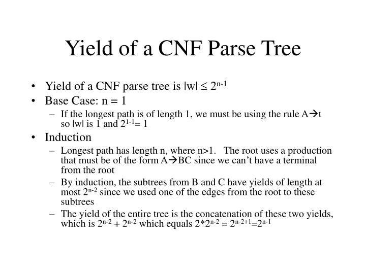 Yield of a CNF Parse Tree
