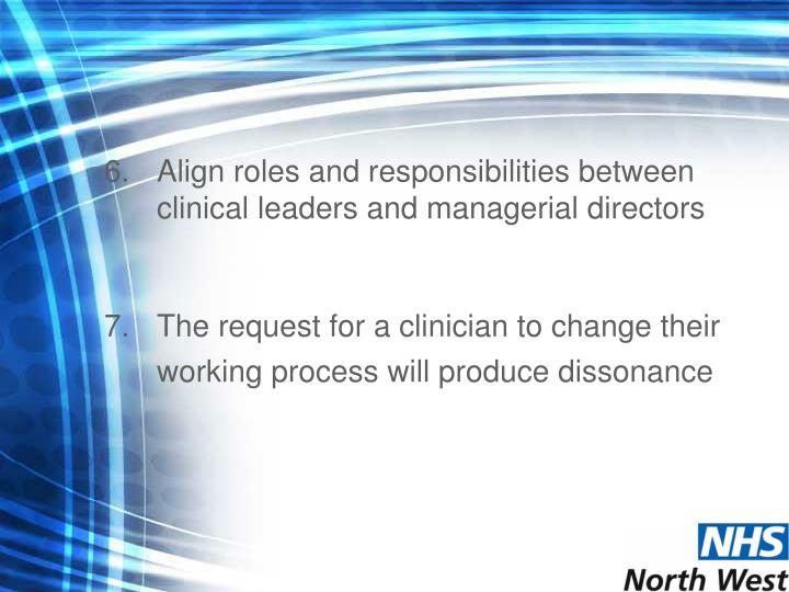 Align roles and responsibilities between clinical leaders and managerial directors
