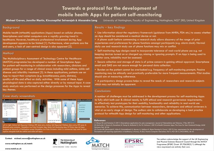 towards a protocol for the development of mobile health apps for patient self monitoring n.