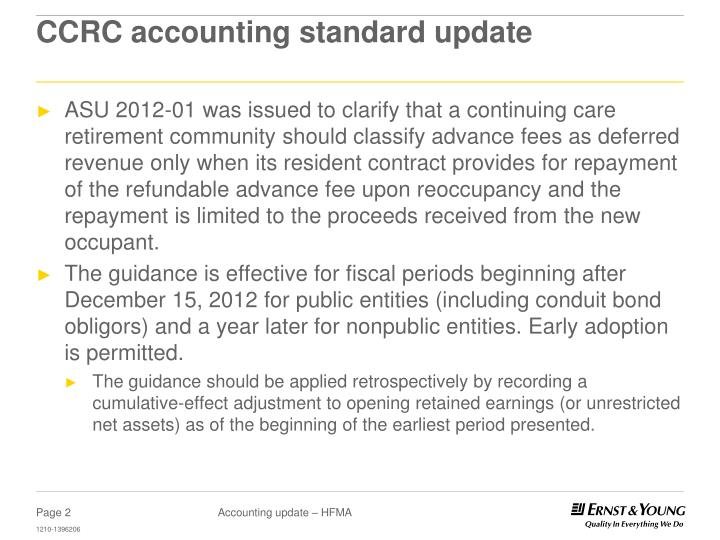 Ccrc accounting standard update