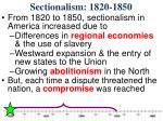 sectionalism 1820 18504