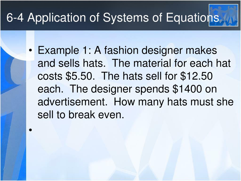 Ppt 6 4 Application Of Systems Of Equations Powerpoint Presentation Free Download Id 2439881