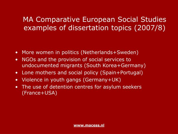 social policy dissertation titles Our students' dissertation titles are recorded below full text versions of all the dissertations are available via the university's deep blue service public policy & economics.