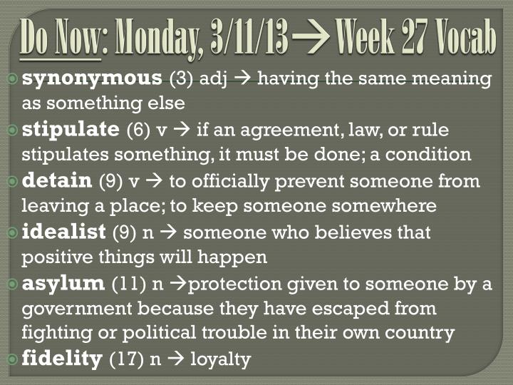 do now monday 3 11 13 week 27 vocab n.